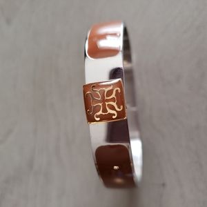 Brown and Silver Rustic Cuff Bracelet